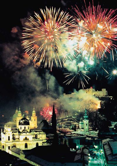 Fireworks at the historical old town of Salzburg